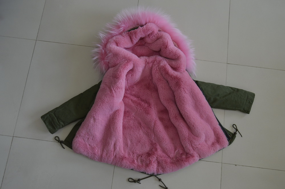e980a918fc3a3 Small camouflage with pink faux fur lining and real raccoon fur collar for  kids winter fur coat