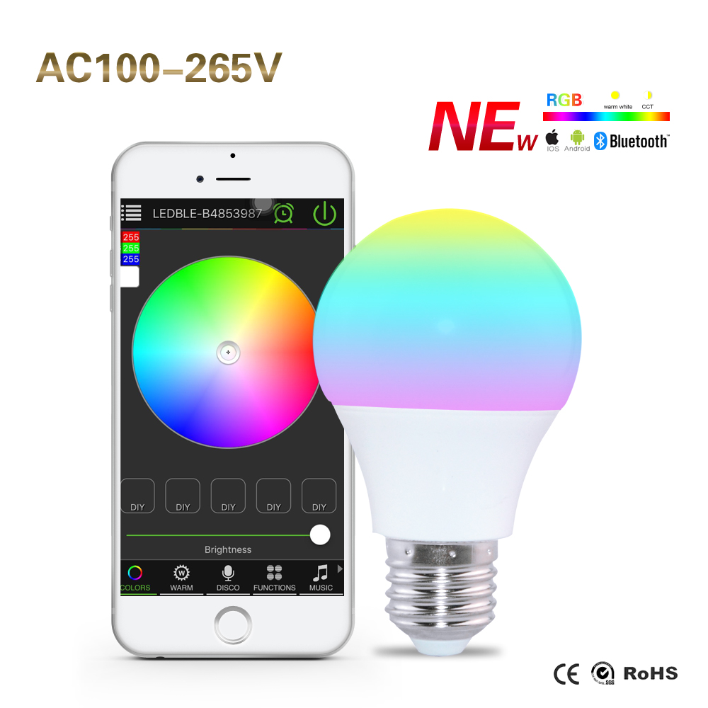 Bluetooth 4.0 Smart Bulbs Dimmable 4.5W E27 RGBW Led Lamp Lighting AC85-265V Light Color Changeable for Home