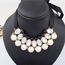 2016 New Design High Quality Fashion Garden Style Candy Color Ribbon simulated pearl Choker Pendant Necklace For Women Big Pearl black velvet ribbon pearl pendant layered design necklace
