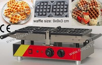 4pcs Commecial Use Non Stick Turnable 110v 220v Electric Belgian Liege Waffle Baker Maker Machine Iron