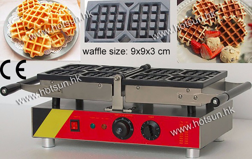 4pcs Commecial Use Non-stick Turnable 110v 220v Electric Belgian Liege Waffle Baker Iron Maker Machine free shipping commercial use non stick 110v 220v electric 8pcs square belgian belgium waffle maker iron machine baker