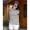 Camisas De Mujer Rayas 2017 Stripe Mulher T-Shirt Com Short mangas Mulheres Camiseta De Algodão Top Verão Coreano Casual Camiseta Femme