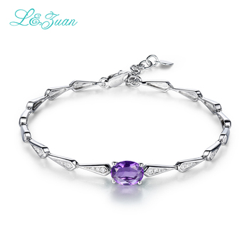 I&zuan 925 Sterling silver jewelry Natural Amethyst Bracelets for Women Purple Stone Bangles Fine Jewelry Accessories 0257
