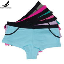 Prettywowgo 5pcs/lot Wholesale 2019 Cotton 6 Candy Color Womens Boyshorts Women Panties 6985