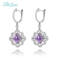 Элегантные модные 925 Серебро природный Аметист Фиолетовый Камень Элегантный Клипсы Для девушку Fine Jewelry подарок