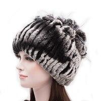 Knitted Hat 2017 Winter Rabbit Fur Beanies Headgear Women Silver Fox Fur Luxury Ball Flower