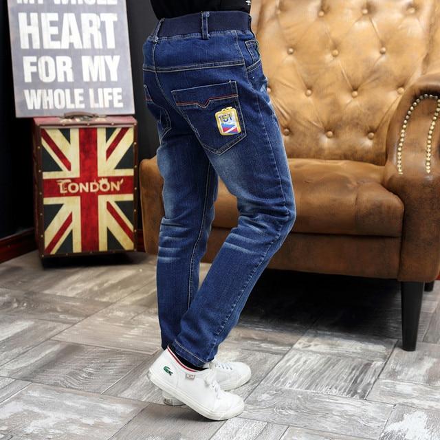 Весна и Осень мальчиков джинсы темно-синий мальчиков джинсовые брюки упругие талии мальчики брюки мода дети джинсы дети повседневная одежда