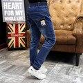 Primavera & Outono jeans meninos meninos azul escuro denim calças cintura elástica meninos calças crianças moda jeans crianças roupas casuais