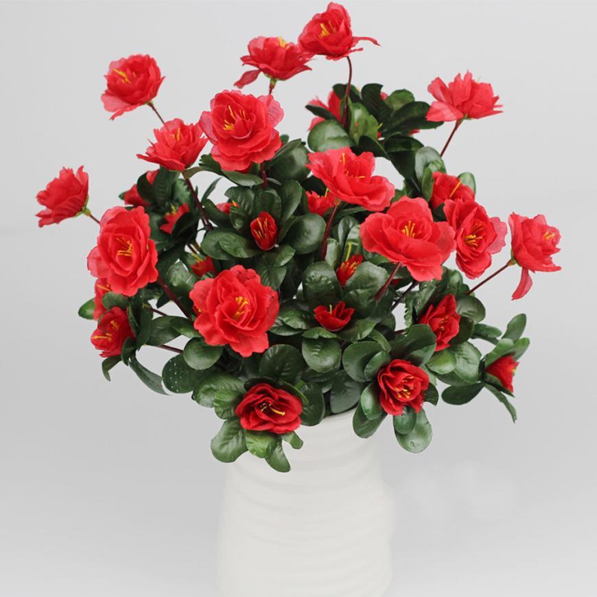 Flores artificiales barato Ramo de Simulación De Cártamo Azalea jardín del banqu