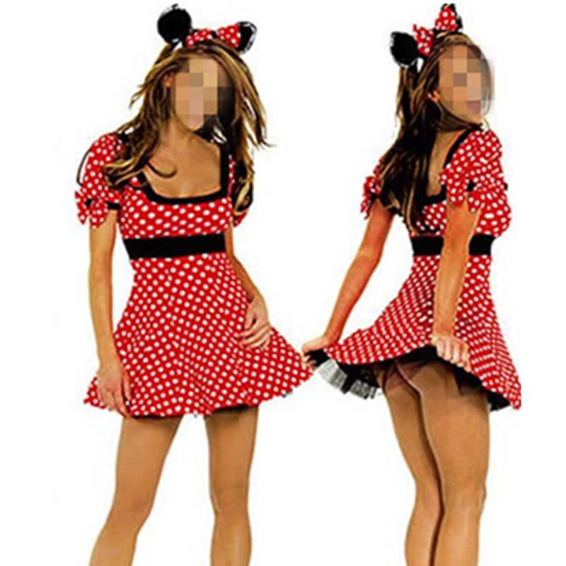 2016 Red Minnie Mouse Dress Adult Halloween Costumes for Women Minnie Mouse  Costume Cosplay Sexy Fantasy. Popular Minnie Mouse Halloween Costumes Adults Buy Cheap Minnie