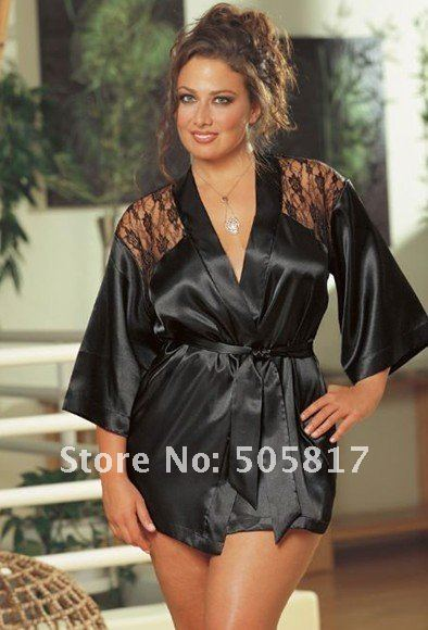 2efdf460c4 2 color Plus size M XL XXL big size Sexy satin robe lingerie bathrobe Women  lace evening chemise sexy nightwear red black KC348-in Robes from Underwear  ...