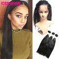 Pre Plucked 360 Lace Frontal Closure With Bundles With Baby Human Hair Natural Hairline Malaysian Straight 360 Lace Virgin Hair