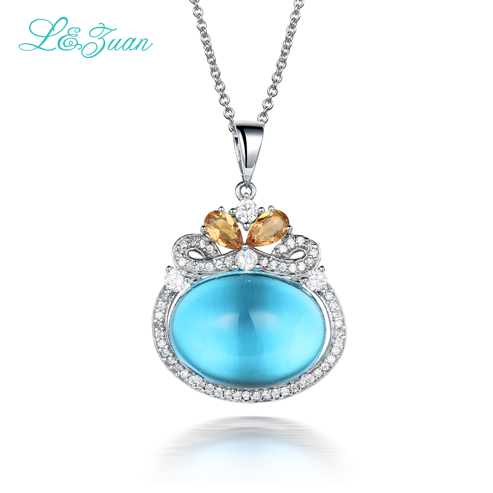 I&Zuan 925 Sterling Silver Natural Topaz Pendant Necklace For Women Blue Stone Fine Jewelry Party Wedding Valentin Gift Collares 2 3mm red natural agate necklace multi layers 925 sterling silver with real pearl fine womne jewelry wedding party necklace