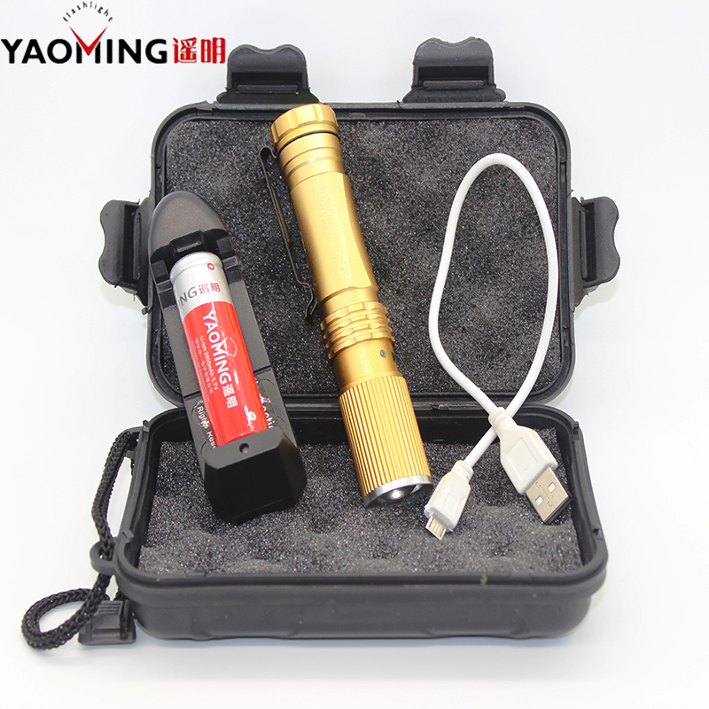 Gift box USB flashlight CREE Q5 rechargeable pen light waterproof led lamp torch light tactical lanterna flashlights with 18650 3t6 led flashlight cree xml 5mode lamp waterproof lanterna tactical denfense torch with rechargeable 3x18650 battery and charger
