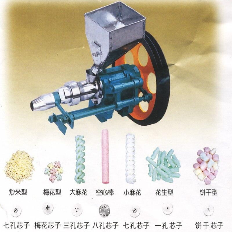 Machine de entassement en vrac multifonctionnelle de Grain d'extrudeuse de maïs de 7 moules | Machine de entassement en vrac de maïs/maïs soufflé/casse-croûte de riz faisant la machine