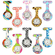 Arabic Numerals Round Dial Silicone Nurses Brooch Tunic Fob Pocket Watch