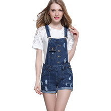 MORUANCLE Womens Ripped Denim Overalls Shorts Distressed Short Jumpsuit Fmale Suspender Short Jeans Rompers With Buttons Pockets