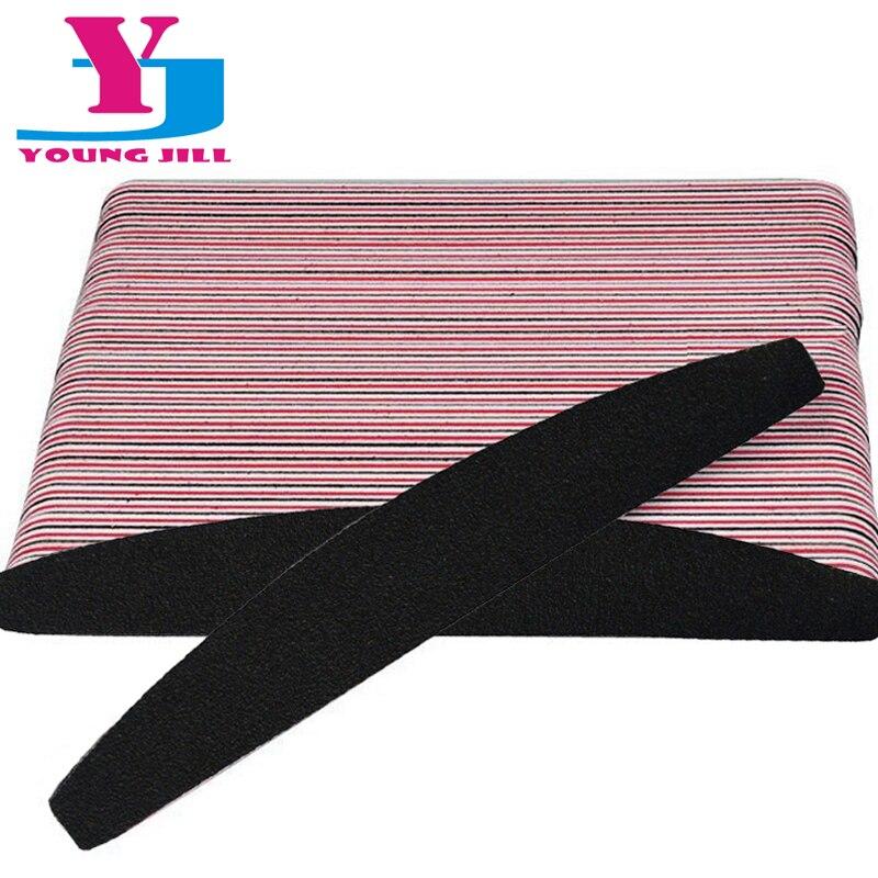 50 Pcs/Lot Professional Nail File Buffer Salon Glitter Nail Files 100/180 Grit Manicure Tools Black Sanding Paper File Supplier