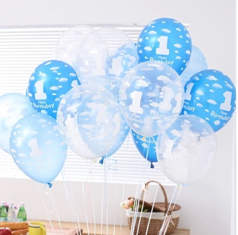 100pcs/lot 12inch Clear pink blue Latex Balloon Cloud Printing Pearl Balloons 1s