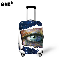 2016 ONE2 Design pink big eye pattern printing wholesale cover apply to 22,24,26 inch fancy suitcase elastic travel luggage