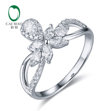 CaiMao 14KT/585 White Gold 0.72ct Natural Diamond Engagement Wedding Band Ring Jewelry