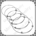 MJB0214 Wholesale Cheap Stainless Steel 1.5mm Simple a Triple Loop Adjustable Wiring Bangle Expandable Wire Bracelet