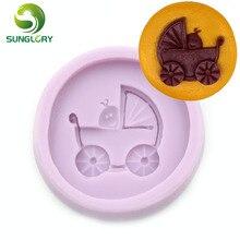 Baby Stroller Silicone Mold Ferramentas Bolo Cake Decorating Tools Fondant Decor Gum Paste 3D Moldes De Silicona Americana