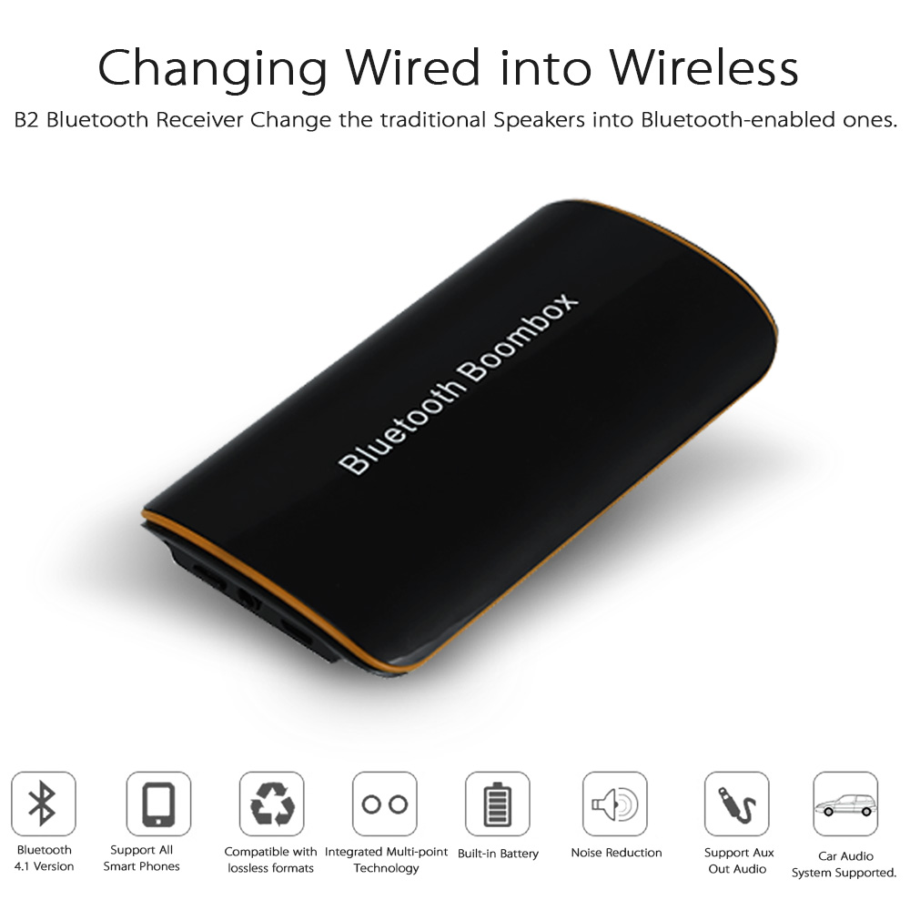 B2 Wireless Stereo Bluetooth 4.1 + EDR Receiver Audio Music Box With Mic 3.5mm RCA For Speaker