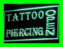 I213 OPEN Tattoo Piercing Shop NUEVA LED Neon Signs Luz On/Off 7 Colores