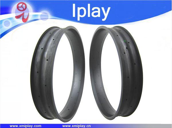 IPLAY Toray T700 carbone 26 ''100mm largeur Pleine Fiber De Carbone Fat Jantes Vélo Jante graisse Neige vélo jante