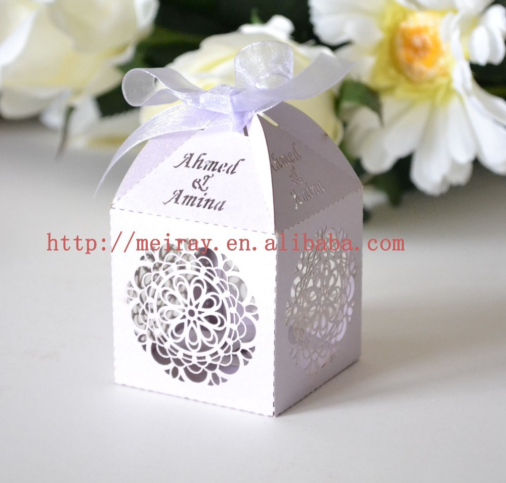 personalized laser cut wedding favor/candy box flower paper boxes ...