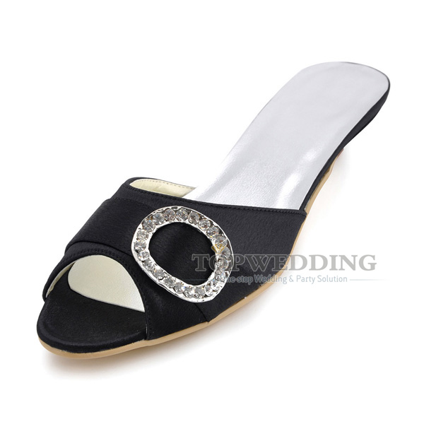 f0b7b1e26 Custom Satin 2cm Low Heel Bridal Wedding Shoes Party Evening Women s Sandals  Slides w  Rhinestones
