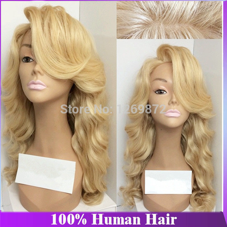Glueless full lace long blonde human hair wig blonde brazilian lace front wig virgin 613 golden color wavy wigs with baby hair