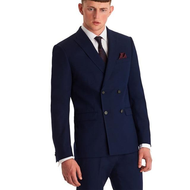 Double Breasted Men Suits Navy Blue Groomsmen Peak Lapel Groom ...