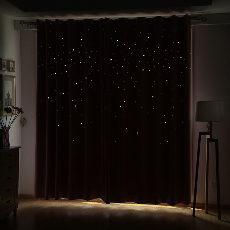 Modern Window Curtain Living Room 3d Hollow Star Pattern Window Treatments Solid Curtains For Bedroom Single Panel (Color Of 4)