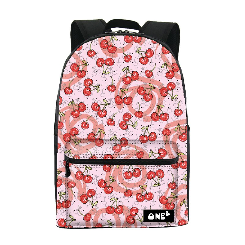 2016 ONE2 Design sweet cherry pattern printing stylish waterproof backpack nylon of school bag and backpack