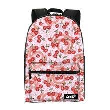 2016 ONE2 дизайн черешня рисунок печать стильный водонепроницаемый рюкзак нейлон мешок школы и рюкзак для женщин