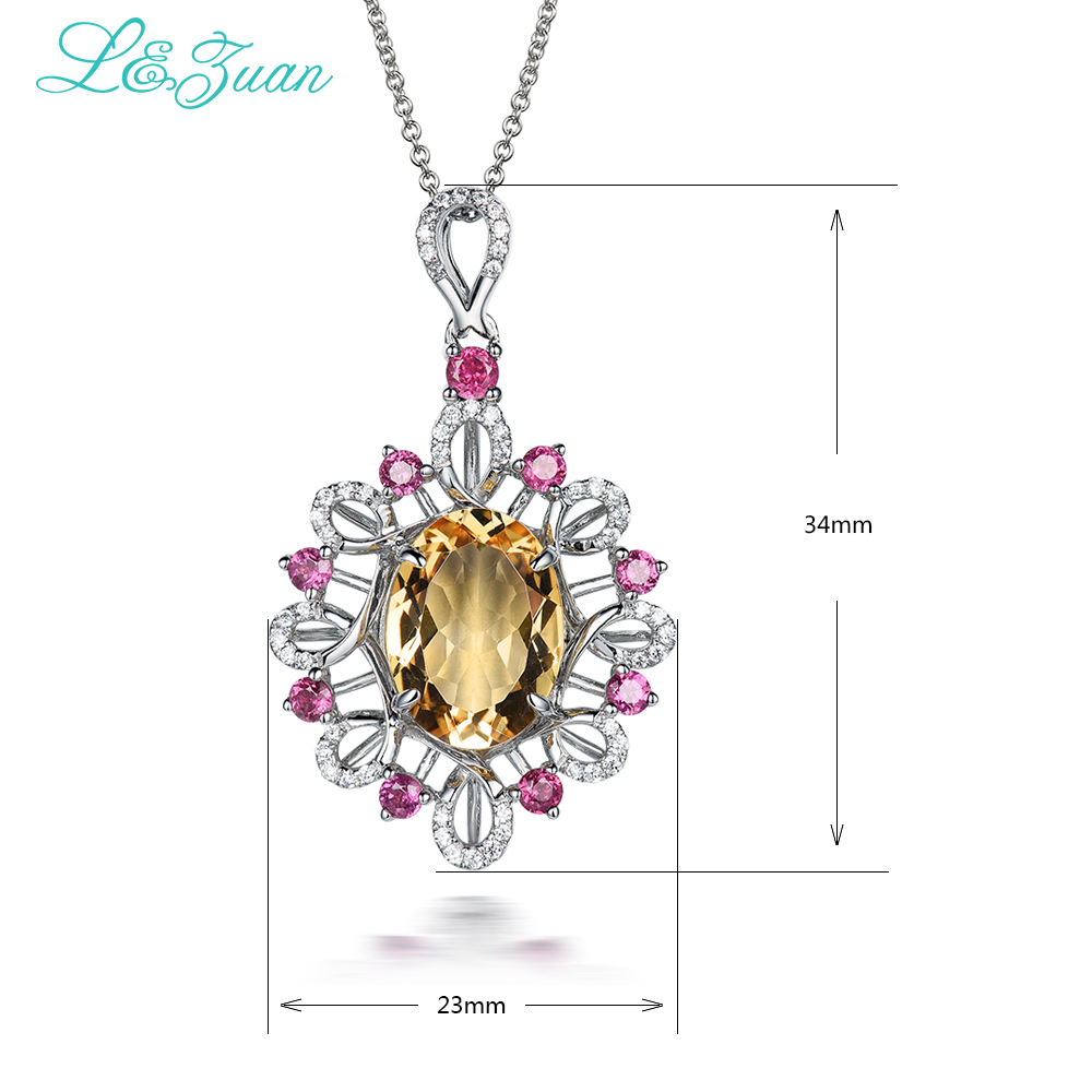 I&Zuan Natural stone yellow citrine necklace & pendant for woman garnet 925 sterling-silver-jewelry luxury diamond fine jewelry