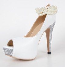 Cute Coppy Leather Women's Stiletto  Rhinestone Heel  Peep Toe Platform Sandals  With Pearl Link Solid Wedding Shoes Pumps