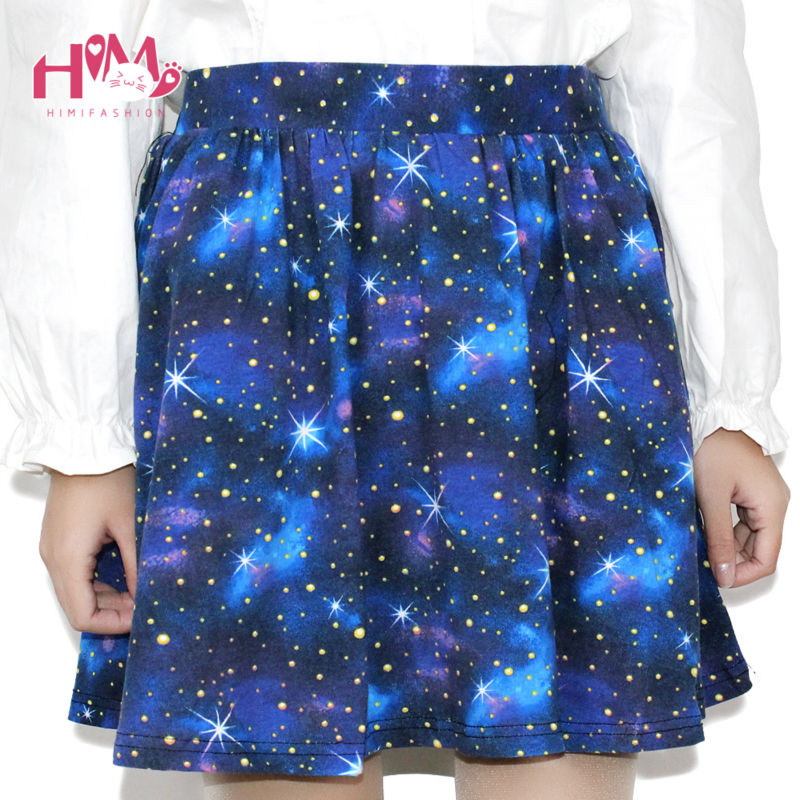 Harajuku Starry sky skirt astral print skirts summer tutu cotton skirt blue color emoji starry galaxy skirt cotton free shipping (2)
