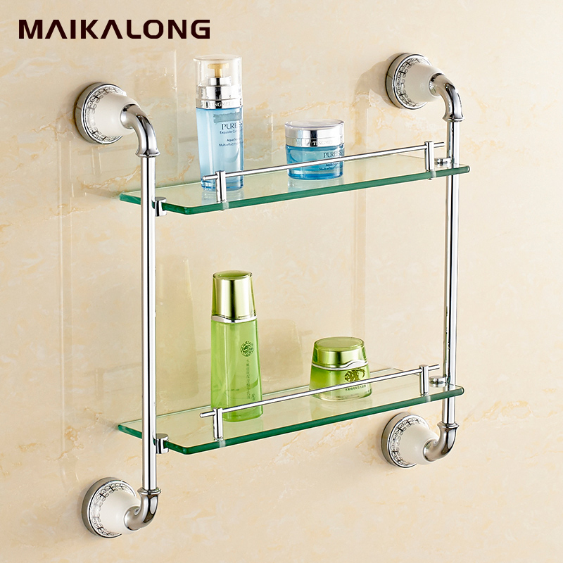 Gold bathroom accessories chrome finish with tempered for Gold glass bathroom accessories