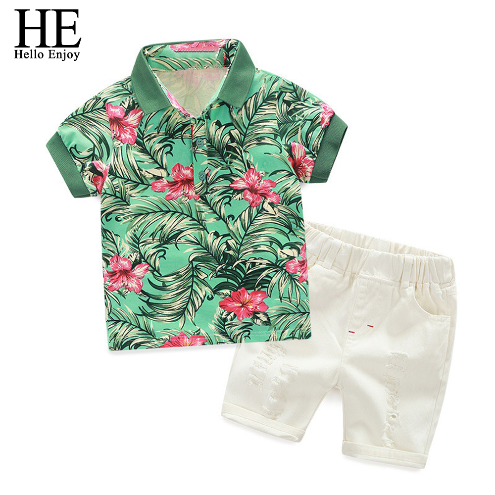 Hello Enjoy Kids Clothes Active Boys Sets Summer Short Sleeve Floral Shirts+Shorts Suits Pants 2 pieces Clothing Children 2018 summer kids clothes sets boys girls short sleeve t shirts plaid shorts skirts children school uniform performance clothes