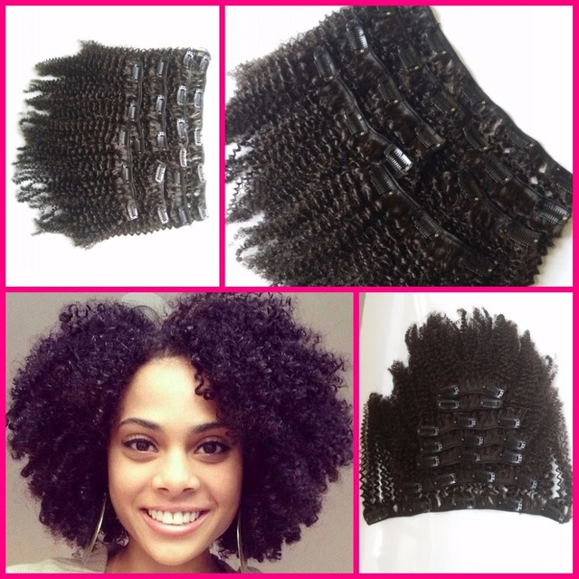 Kinky Curly Clip In Hair Extensions Natural Hair 4a 4b 4c African