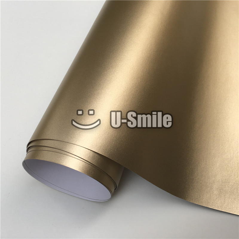Premium Champagne Gold Satin Matte Chrome Vinyl Car Wrap Film Sticker Bubble Free Car Styling