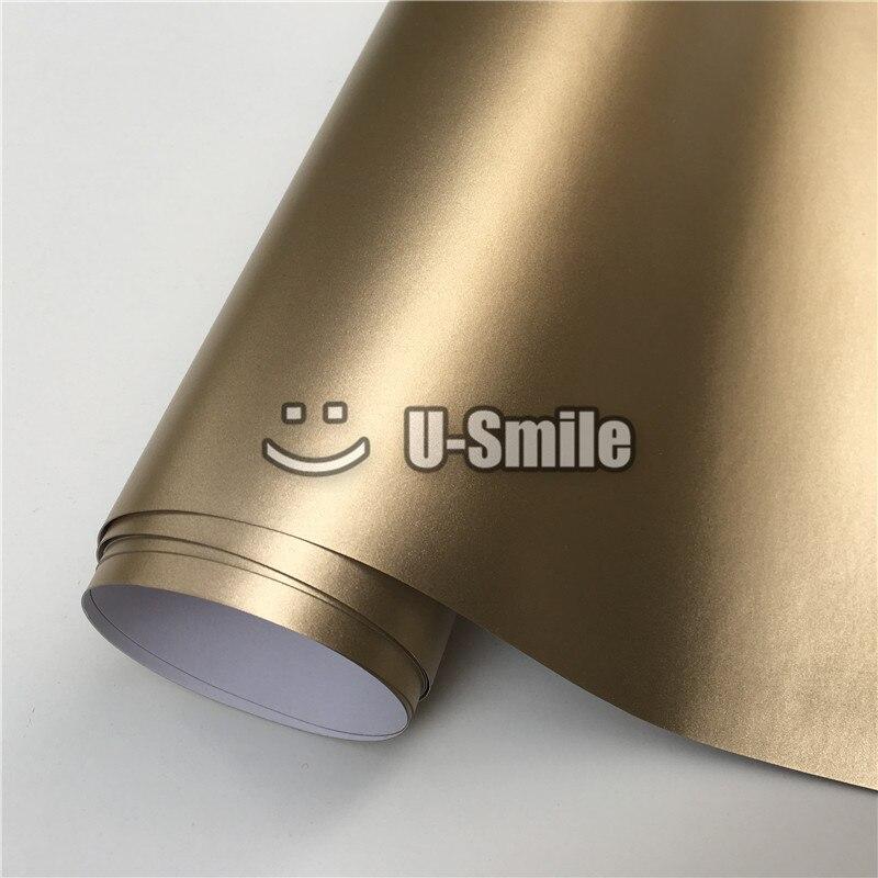 *Premium Champagne Gold Satin Chrome Matte Metallic Car Vinyl Wrap Air Release