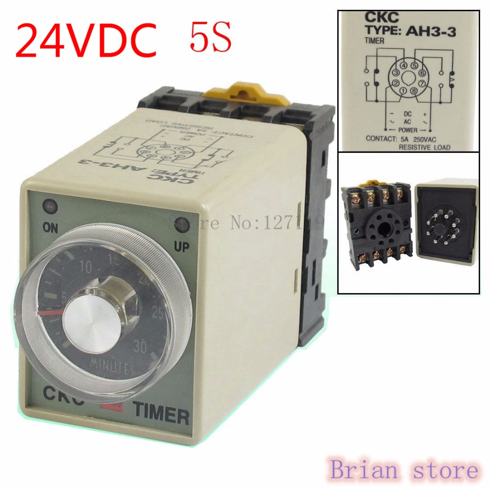 5S AH3-3 Power on Delay Timer Time Relay 24VDC  Plastic Housing 8 Pin hhs6a correct time countdown intelligence number show time relay bring power failure memory ac220v