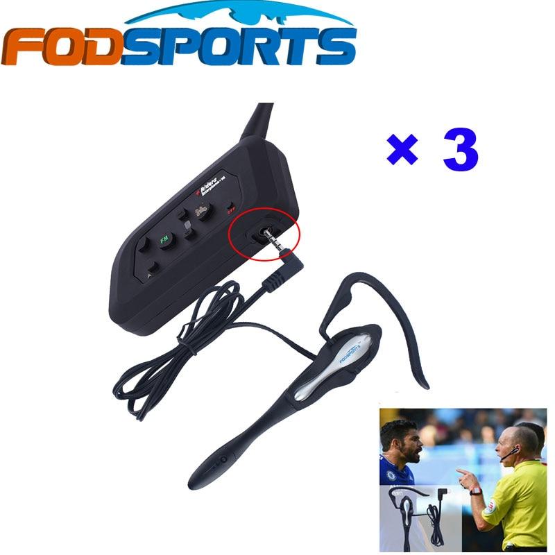 Fodsports 3 pcs V4 FM 1200M Waterproof Bluetooth Intercom Interphone 4 Riders Talking For Football Referee Judge