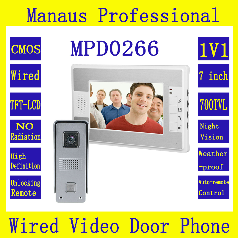 Smarthome 7 inches TFT Screen Video Door Phone Doorbell Intercom Kit 1- NightVision camera 1- monitor 1V1 Doorphone System D266a jeatone 10 tft wired door phone doorbell intercom monitor 2 8mm lens 1200tvl camera 1v1 kit for private house free warranty