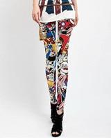 бесплатная доставка оптовая продажа мода красочные мультфильм печатных хлопок женские леггинсы тонкий дамы брюки леггинсы