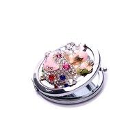 дорогостоящего алмаза оболочки зеркало для макияжа складной двусторонний мини милые девушки сумочку косметического зеркала